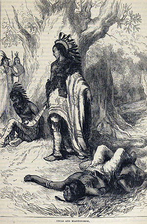 Uncas, chief of the Mohegan tribe, executes Mi...