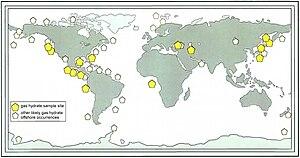 Peta tempat-tempat yang mengandung gas methana
