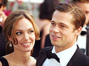 Angelina Jolie and Brad Pitt at the Cannes fil...