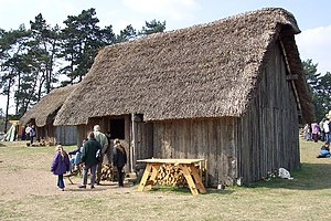 English: Anglo-Saxon village at West Stow. The...