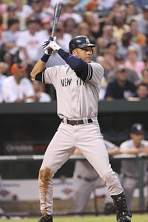 English: New York Yankees Derek Jeter batting ...