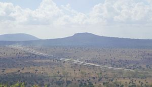 English: Mombasa Highway seen from Lukenya, Kenya