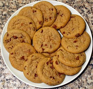 A dish of homemade cookies.