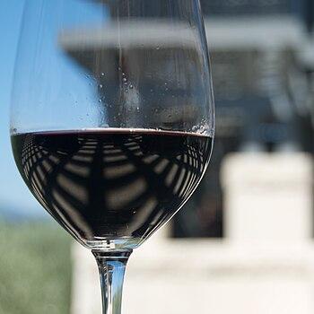 Glass of California, Napa Valley red wine. Opu...