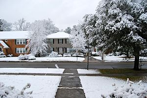 Shreveport, Louisiana with unusual snow.