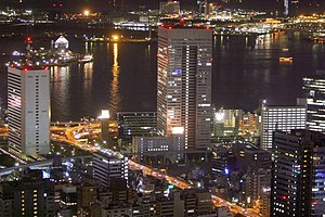 Toshiba Corporation's headquarters (center) in...