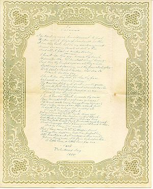 """Handwritten poem, """"To Susanna"""" dated..."""