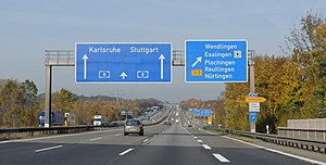 English: Highway A 8, exit Wendlingen. Heavy t...