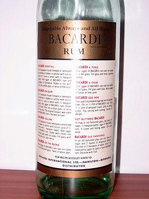 English: Rear side of an old Bacardi rum bottl...