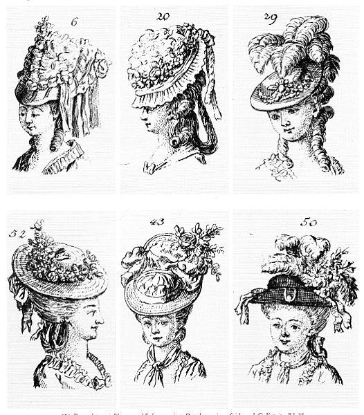 Damenhüte, mit den Erzeugnissen einer Blumenmanufaktur dekoriert, um 1790