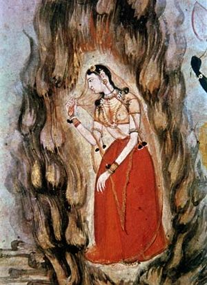 Sita enduring the ordeal by fire, Mughal, ca. 1600