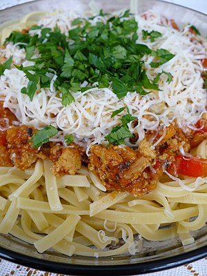 Tagliatelle with the Bolognese sauce