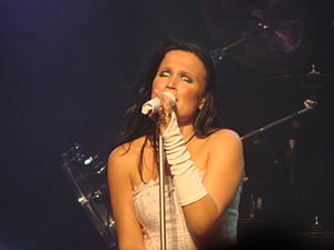 Tarja Turunen singing at the Obras Stadium in ...