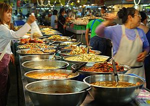 English: A market stall, at Thanin market in C...