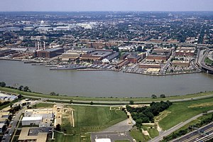 Aerial view of the Washington Navy Yard. (Photo credit: Wikipedia)