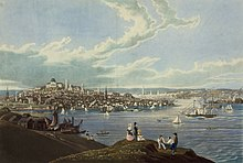 Painting with a body of water with sailing ships in the foreground and a city in the background