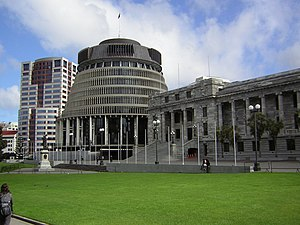 Bowen House, the Beehive and Parliament, New Z...