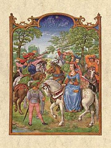 Image d'une femme chevauchant en amazone, probablement Anne de Bohême (1366-1394) – Gerard Horenbout, XVIe.