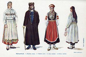 Estonian national costumes: 1. Kadrina 2. Mihk...