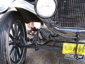 The suspension components of a Ford Model T. T...
