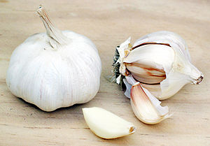 This is one full head of garlic beside another...
