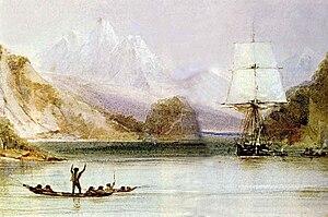 HMS Beagle at Tierra del Fuego (painted by Con...