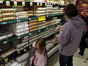 A young girl and her mother shop for chicken e...