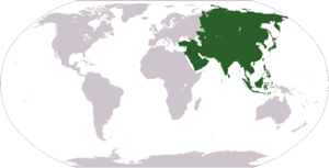 World map depicting Asia