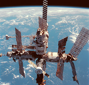 Mir in orbit, photo taken in 1998 from Space S...
