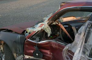 A wrecked car in Durham, North Carolina.