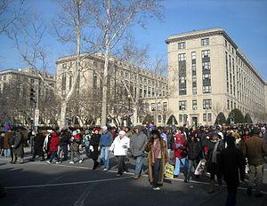 People walking south on 18th Street, N.W., (cr...