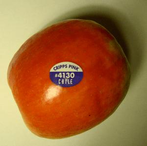 English: Apple PLU #4130 Deutsch: Apfel PLU #4130