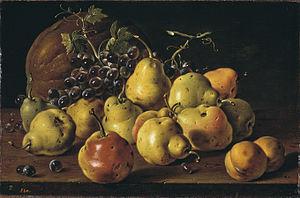 Español: Bodegón: membrillos, melocotones, uva...