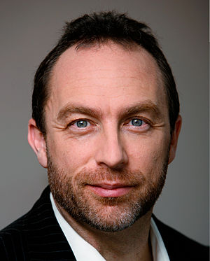 A photo of Jimmy Wales used in the 2008 Wikime...
