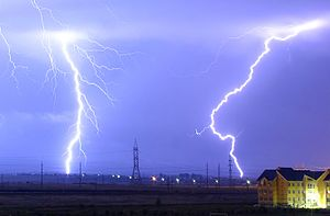 English: Lightning over the outskirts of Orade...