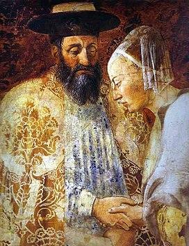 Piero della Francesca- Legend of the True Cross - the Queen of Sheba Meeting with Solomon; detail.JPG