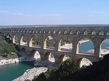 Pont du Gard in France is a Roman aqueduct bui...