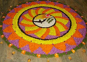 English: Pookalam during Onam days in Irinjala...
