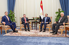 U.S. Secretary of State John Kerry, King Abdullah II of Jordan, Egyptian President Abdel Fattah al-Sisi, and Palestinian Authority President Mahmoud Abbas sit together at the Congress Center in Sharm el-Sheikh, Egypt, on March 13, 2015