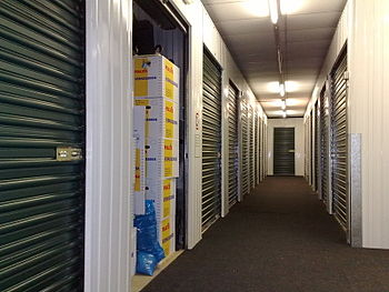 English: Corridor with self-storage units (in ...