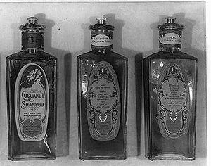 English: Bottles of shampoo and lotions manufa...