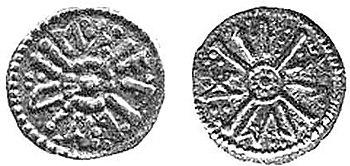 English: Coin of eastanglian King Æthelberht I...