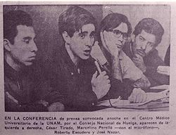 Primera conferencia de prensa convocada por el Consejo de Huelga de la UNAM el 5 de octubre.