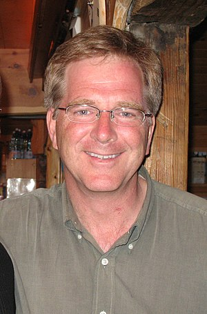 Rick Steves at the Mountain Hostel, Gimmelwald...