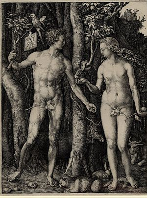 "English: ""Adam and Eve; standing on eithe..."