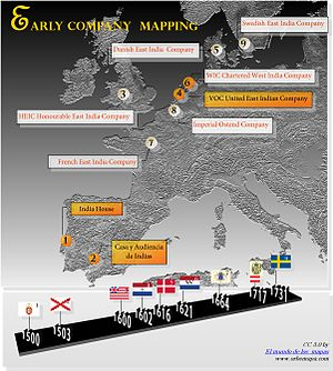 English: Map of the first European corporation...