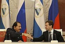 Ortega with Russian President Dmitry Medvedev in Russia on December 18, 2008.