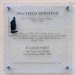 Memorial plaque, Siegfried Bernfeld, Pariser S...