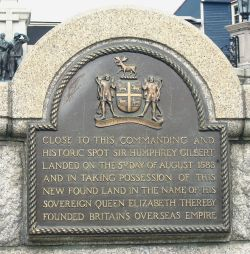 Plaque commemorating Gilbert's founding of the British Empire. Wikimedia Commons