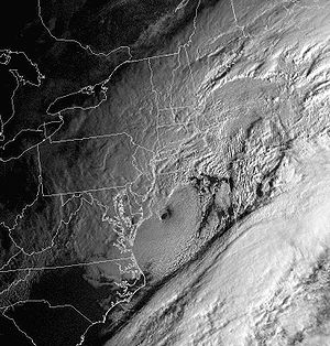 Satellite image of the intense nor'easter resp...